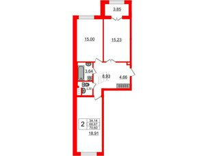 Квартира в ЖК Петровский Квартал на воде, 2 комнатная, 69 м², 1 этаж
