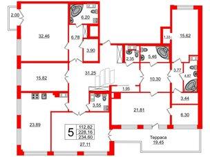 Квартира в ЖК Петровский Квартал на воде, 5 комнатная, 230.1 м², 7 этаж