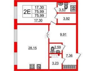 Квартира в ЖК Петровский Квартал на воде, 1 комнатная, 76.5 м², 1 этаж