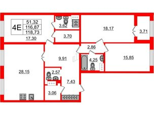 Квартира в ЖК Петровский Квартал на воде, 3 комнатная, 117.6 м², 3 этаж