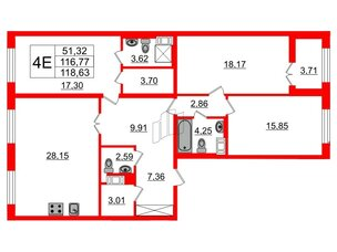 Квартира в ЖК Петровский Квартал на воде, 3 комнатная, 117.5 м², 6 этаж