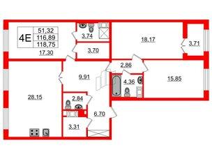 Квартира в ЖК Петровский Квартал на воде, 3 комнатная, 117.3 м², 7 этаж