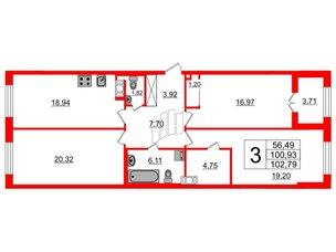 Квартира в ЖК Петровский Квартал на воде, 3 комнатная, 102 м², 2 этаж