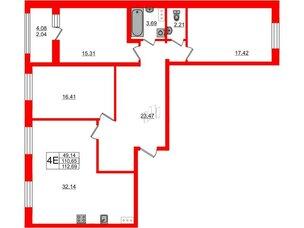 Квартира в ЖК PROMENADE, 3 комнатная, 112.69 м², 11 этаж