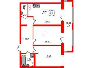 Квартира в ЖК PROMENADE, 2 комнатная, 61.75 м², 11 этаж