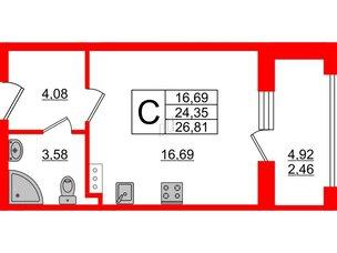 Апартаменты в ЖК PROMENADE, студия, 26.81 м², 16 этаж