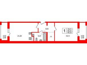 Апартаменты в ЖК PROMENADE, 1 комнатные, 60.23 м², 16 этаж
