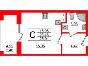 Апартаменты в ЖК PROMENADE, студия, 25.91 м², 16 этаж