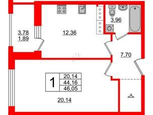 Апартаменты в ЖК PROMENADE, 1 комнатные, 46.05 м², 16 этаж