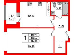 Апартаменты в ЖК PROMENADE, 1 комнатные, 45.35 м², 16 этаж