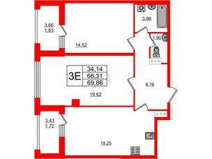 Квартира в ЖК PROMENADE, 2 комнатная, 69.86 м², 16 этаж