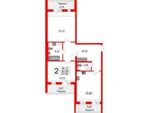 Квартира в ЖК Зеленый квартал на Пулковских высотах, 2 комнатная, 81.2 м², 5 этаж