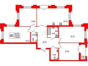 Квартира в ЖК Цивилизация на Неве, 4 комнатная, 119.4 м², 2 этаж