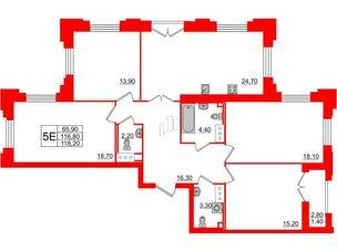 Квартира в ЖК Цивилизация на Неве, 4 комнатная, 118.2 м², 4 этаж