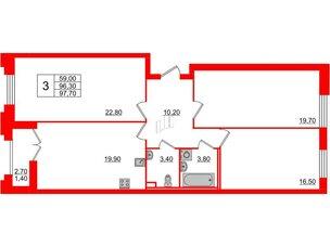 Квартира в ЖК Цивилизация на Неве, 3 комнатная, 97.7 м², 2 этаж