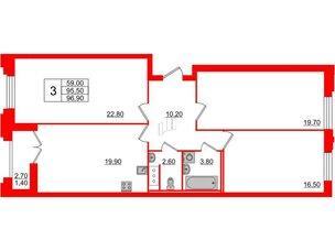 Квартира в ЖК Цивилизация на Неве, 3 комнатная, 96.9 м², 4 этаж