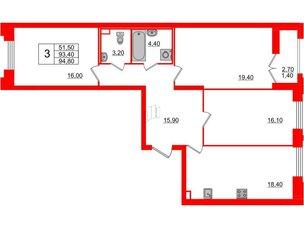 Квартира в ЖК Цивилизация на Неве, 3 комнатная, 94.8 м², 2 этаж