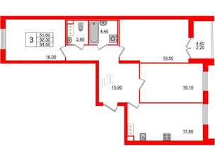 Квартира в ЖК Цивилизация на Неве, 3 комнатная, 95.1 м², 11 этаж