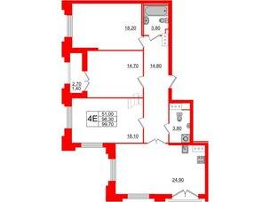 Квартира в ЖК Цивилизация на Неве, 3 комнатная, 99.7 м², 3 этаж