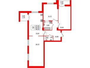 Квартира в ЖК Цивилизация на Неве, 3 комнатная, 96.2 м², 6 этаж