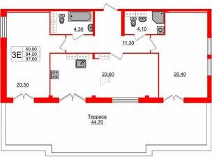 Квартира в ЖК «ARTквартал.Аквилон», 2 комнатная, 97.6 м², 15 этаж