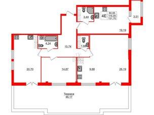 Квартира в ЖК «ARTквартал.Аквилон», 3 комнатная, 128.1 м², 15 этаж