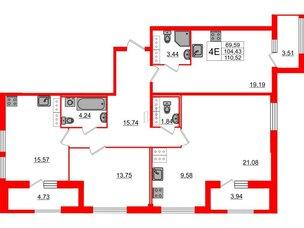 Квартира в ЖК «ARTквартал.Аквилон», 3 комнатная, 108.2 м², 16 этаж