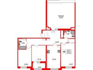 Квартира в ЖК «ARTквартал.Аквилон», 3 комнатная, 101.3 м², 13 этаж