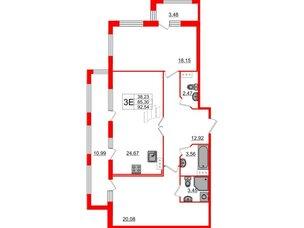Квартира в ЖК «ARTквартал.Аквилон», 2 комнатная, 90.1 м², 4 этаж