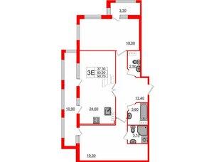 Квартира в ЖК «ARTквартал.Аквилон», 2 комнатная, 90.7 м², 13 этаж