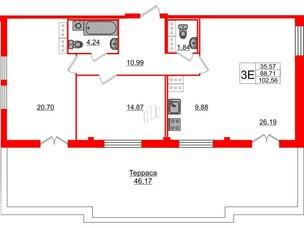 Квартира в ЖК «ARTквартал.Аквилон», 2 комнатная, 100.9 м², 15 этаж
