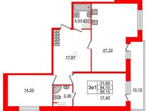 Квартира в ЖК Притяжение, 2 комнатная, 84.4 м², 8 этаж