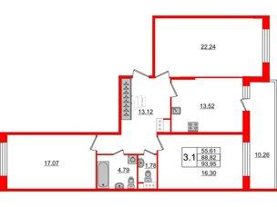 Квартира в ЖК Притяжение, 3 комнатная, 88.82 м², 5 этаж