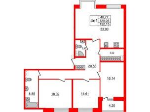 Квартира в ЖК Притяжение, 3 комнатная, 120 м², 5 этаж