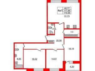 Квартира в ЖК Притяжение, 3 комнатная, 117.6 м², 8 этаж
