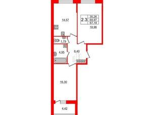 Квартира в ЖК Притяжение, 2 комнатная, 64.97 м², 2 этаж