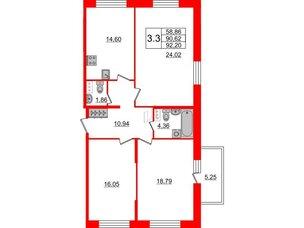 Квартира в ЖК Притяжение, 3 комнатная, 90.3 м², 7 этаж