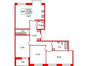 Квартира в ЖК Притяжение, 3 комнатная, 116 м², 5 этаж