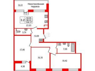 Квартира в ЖК Притяжение, 3 комнатная, 99.3 м², 9 этаж