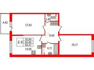 Квартира в ЖК Притяжение, 2 комнатная, 62 м², 9 этаж