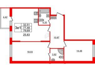 Квартира в ЖК Притяжение, 2 комнатная, 77.4 м², 1 этаж