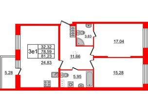 Квартира в ЖК Притяжение, 2 комнатная, 78.59 м², 2 этаж