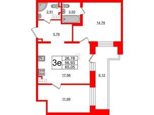 Квартира в ЖК Елизаровский, 2 комнатная, 57.3 м², 19 этаж