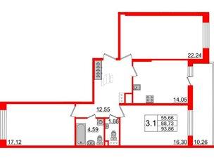 Квартира в ЖК Притяжение, 3 комнатная, 88.73 м², 8 этаж
