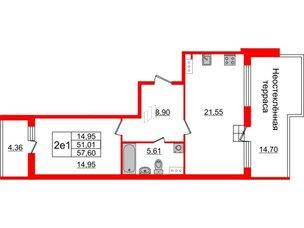 Квартира в ЖК Притяжение, 1 комнатная, 51.01 м², 9 этаж