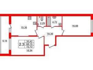 Квартира в ЖК Притяжение, 2 комнатная, 68.15 м², 8 этаж