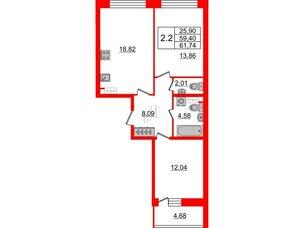 Квартира в ЖК Притяжение, 2 комнатная, 59.4 м², 8 этаж