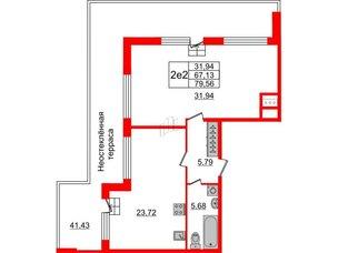 Квартира в ЖК Притяжение, 1 комнатная, 67.13 м², 9 этаж