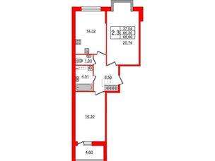 Квартира в ЖК Притяжение, 2 комнатная, 66.3 м², 6 этаж