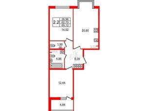 Квартира в ЖК Притяжение, 2 комнатная, 62.7 м², 6 этаж